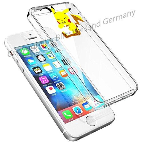 Blitz® DISNEY Schutz Hülle Transparent TPU Cartoon Comic Case iPhone 7 Super Mario Pikachu isst Apfel