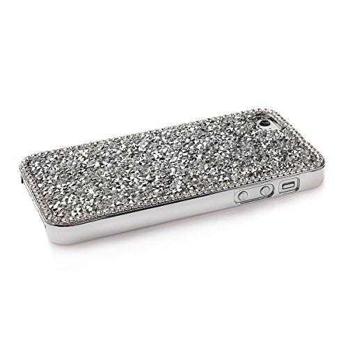 Custodia per iphone 5C, iphone 5C Custodia Rigida, Cover per iphone 5C, Ukayfe Bellezza lusso Shiny Sparkle Bling Bling scintillio Artigianato di cristallo [strass Diamante] Custodia protettiva in pla argento