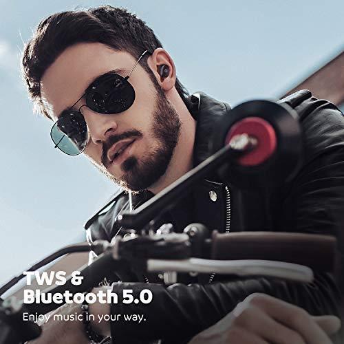 Auriculares Estereo Bluetooth 5.0 SoundPeats de Truefree Auriculares Invisibles con tecnología TWS Invisibles con micrófono Incorporado. Auriculares Gemelos con estación de Carga magnética -  (Negro)