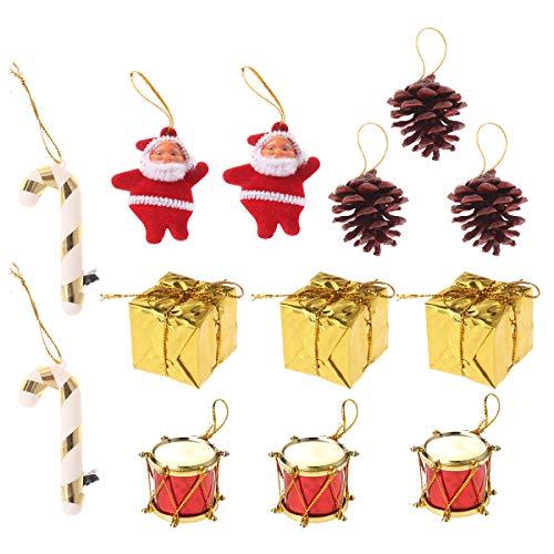 BESTOYARD Weihnachtsschmuck mit Santa Doll Mini Drums Geschenkbox Zuckerstangen Kiefer Kegel Weihnachtsbaum Hängende Dekorationen Urlaub Party Supplies Ornamente