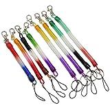 Colorido multiusos PU primavera Llaveros Cable Cierre flexible en espiral Tether Lanyard elástico cable para USB unidad de hombre y mujeres de Flash Móvil Ligera dispositivos electrónicos juguetes del bebé de trapo Muñecas Paquete de 8