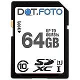 Dot.Foto 64Gb SDXC Alta Velocidad 60MB/s Clase 10 UHS-1 Tarjeta de Memoria para Canon EOS cámaras [Vea compatibilidad en la descripción]