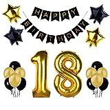 """18. Geburtstag Party Dekoration, Happy Birthday Banner, """"18"""" Golden Ballon, Latex- und Sternfolie-Ballon, Perfekt für die Vorbereitung der 18. Geburtstagparty"""