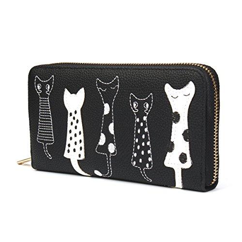 OURBAG Cartera de mujer Monedero lindo del gato Bolso largo con cremallera Negro