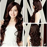 ATOZWIG Women Long Dark Brown Wavy Cosplay Party Curly Wigs