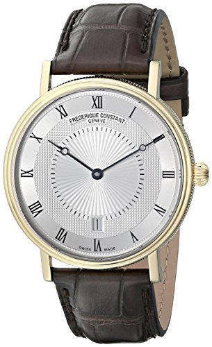 Frederique Constant Slimline Classics Automatic FC-306MC4S35 39mm Automatic Gold Plated Stainless Steel Case Brown Leather Anti-Reflective Sapphire Men's Watch