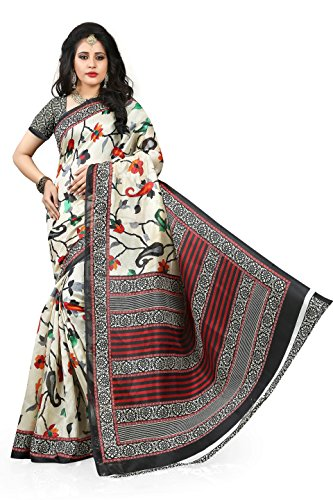 Gaurangi Creation Women's Jute Silk Printed Saree (MNB3001_Off-white_Free Size)