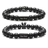 JOVIVI Gratis Gravur - Personalized Lava Partnerarmbänder 8mm Buddha Perlen Armband mit Krone Pärchen Geschenke