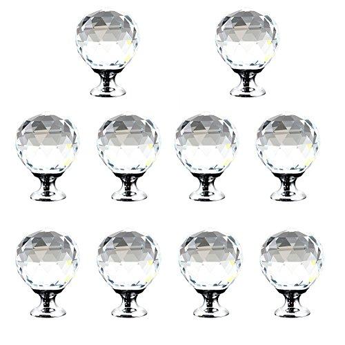 10er Kristall klar Rund Knopf, Möbel Glas Knöpfe Küche Schubladen-Schränke Griffe Closet Dekoration Griff mit Schraube -
