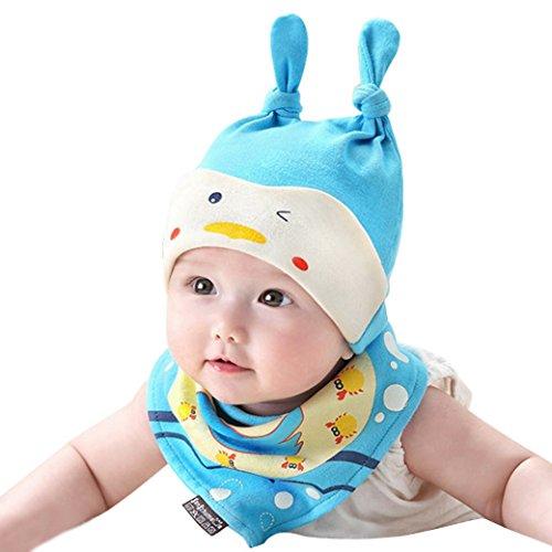 Happy Cherry Set/Gorro de Dormir con Babero Diseño de Animal para 0 - 18 Meses Bebé Niño Niña Recién Nacidos - Color Azul
