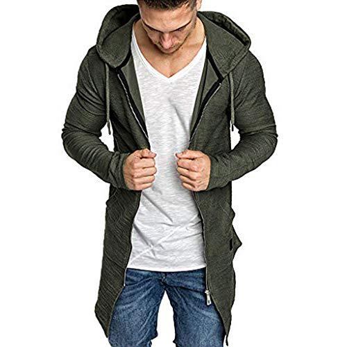 Herren Sweatjacke mit Kapuze Lange Strickjacke Herren Open Front Cardigan Slim Fit Basic Männer Hoodie Sweatshirt Kapuzenjacke für Herbst Winter -