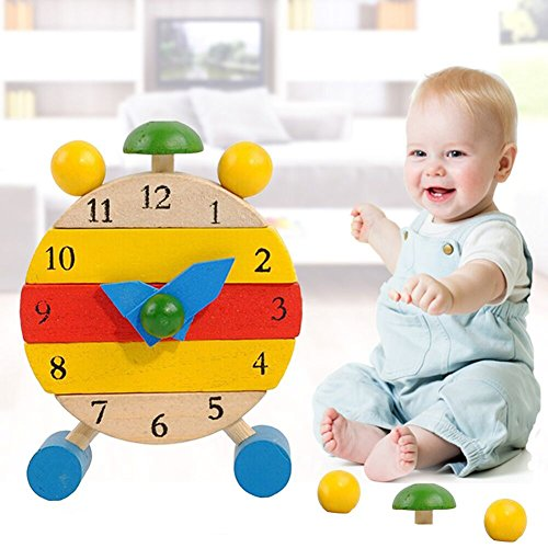 Bluelans Disassembly Cartoon Wooden Clock Baby Kids Learning Time Puzzle Educational Toys for Kids Boys Girls Xmas Gifts Xmas Stocking Fillers Party Bag Gifts