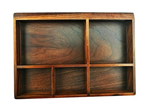 Winterworm American Black Walnut Wooden Tray Organizer 5 Compartment Drawer Organizer Jewelry Storage Desk Organizer