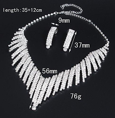Santfe Set Joyas Corona de Boda De Novia De Color Blanco Cristalino Tiara Del Rhinestone Diadema Diadema Tocado cinta+collar + pendientes (6)