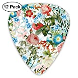 18 Watercolor Hand Drawn Pattern - Roses And Flowers On White Classic Celluloid Picks, 12-Pack, For Electric Guitar, Acoustic Guitar, Mandolin, And Bass