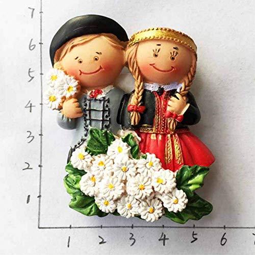 STARKWALL 1pc Niedlich Österreichische Folk Kostüme 3D Fridge Magnets Tourismus Souvenirs Kühlschrank Magnetic Sticker Home Dekoration