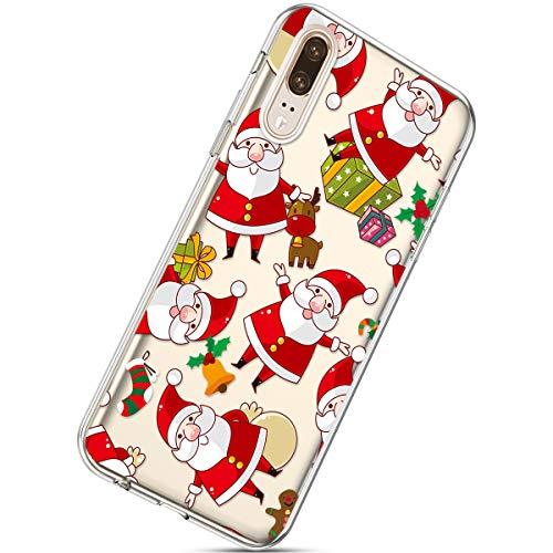 Handytasche Huawei P20 Weihnachten Hülle Clear Case Ultra Dünn Durchsichtige Silikon Kirstall Transparent Handy Hülle Bumper Cover Schutz Tasche Schale,Weihnachtsmann