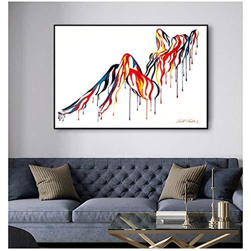 cgsmvp Pop Art Sexy Nude Body Bunte Leinwand Malerei Wandkunst Bilder für Wohnzimmer Abstrakte Kunst Poster und Prints-60x80cm-Kein Rahmen -