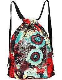 Nylon Flower Print Drawstring Bag Backpack Lightweight Shoulder Bag Sackpack Gym Bag By Amily - B0748GNV91