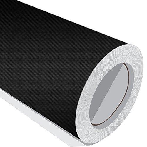 3metre (3m) rotolo di nero in fibra di carbonio Wrap 700mm larghezza autoadesiva in vinile