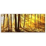 ge Bildet® hochwertiges Leinwandbild Panorama Pflanzen Bilder - Beautiful Morning in The Forest - Natur Blumen Wald gelb orange - 100 x 40 cm einteilig 2206 I
