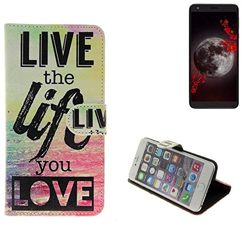 K-S-Trade Für Sharp Aquos B10 360° Wallet Case Schutz Hülle ''live The Life You Love'' Schutzhülle Handy Hülle Handyhülle Handy Tasche Etui Smartphone Flip Cover Flipstyle für Sharp Aquos B10 - K-S-
