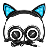 LOBKIN Auriculares para el oído de gato Auriculares de los niños que destellan Cosplay que brilla intensamente los oídos plegables del juego del oído con la luz del LED para las muchachas, los niños, compatible para el iPhone 6S, teléfono androide (negro)