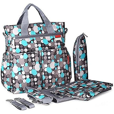 Pañal del bebé bolsas de mano Organizador impermeable para Niños Niñas mamá y papá, del lunar Cochecito hombro y la bolsa de pañales azul Por