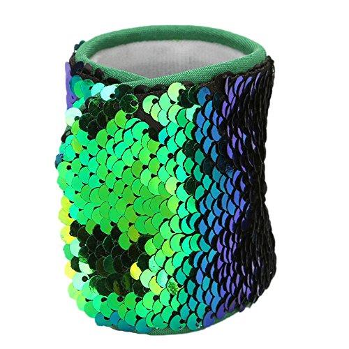 Dorical Meerjungfrau Armbänder, 2-farbig Reversible Charme Pailletten Slap Spielzeug Armband für Party, Dekor, Kindergeburtstag, Spielzeug,mit Super-Soft Velvet Futter (1 Stück) - Custom Beanie Hüte