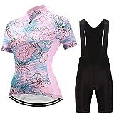 puerhki Costume de Cyclisme Sweat-Shirt Femme à Manches Courtes Et Collants à lanière Convient pour Le Cyclisme Combinaison Cycliste à Manches Courtes Transpiration Respirante