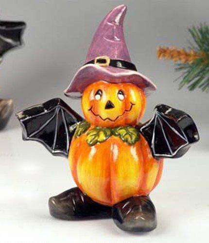 Paolo Rossi Schneemann Keramik Halloween-Kürbis mit Fledermaus Flügel und Hexe Hut. Höhe 18cm