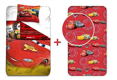 LesAccessoires Disney Cars Flash – Juego de Cama (3pcs) – Funda de edredón (140 x 200) + Funda de Almohada (63 x 63) + sábana Bajera (90 x 190)