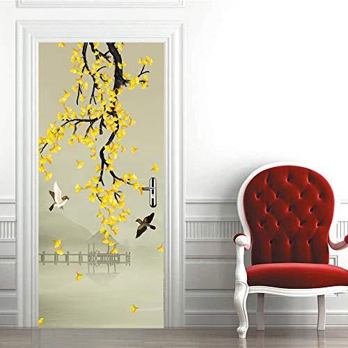 Aufkleber Gelber Ginkgo 77X200CM Wandaufkleber Dekoration dreidimensional Urlaub tapete zuhause Kunst Geschenk DIY Aufkleber europäisch selbstklebend ()