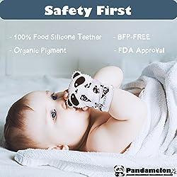 Manoplas de dentición para bebé, mitón de juguete, juego de manoplas de dentición para bebés, lindo mordedor panda, paquete de 2