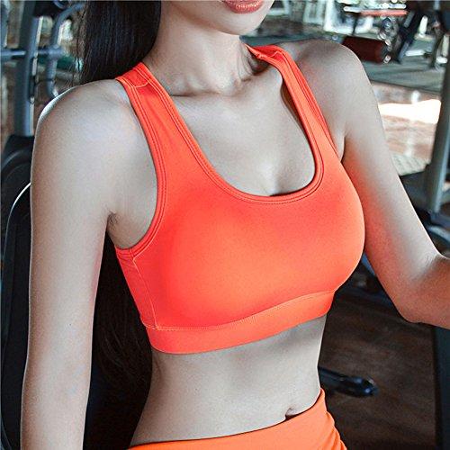 ROPALIA Soutien gorge de sport rembourré Femme Noir Vert Orange Violet . Orange