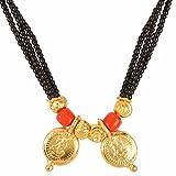 Efulgenz Gold Plated Ethnic Handmade Traditional Black Mani (Beads) Maharashtrian Thusi Necklace Mangalsutra for Women