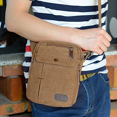 BYD - Uomo Unisex Female Mini Borse a spalla Crossbody Canvas Bag Borse a spalla Mutil Pockets Design Brown