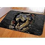 Coloranimal 3D Animal Print Welcome Felpudo Alfombra de Franela Suave, para baño Dormitorio Sala de Estar Alfombrilla, Dinosaur-2