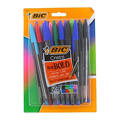 Bic Cristal Xtra Bold Stick Ballpoint Pens, 1.6mm, Bold Point,