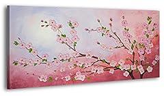 Idea Regalo - YS-Art 100% dipinto a mano + certificato | Effetto 3D | 120x60 cm | Quadri acrilici YS-Art | Fiore di ciliegio | Quadro su tela e cornice in legno | Foto fatte a mano Immagine della parete unica | 1 parte | Arte moderna (RR-180)