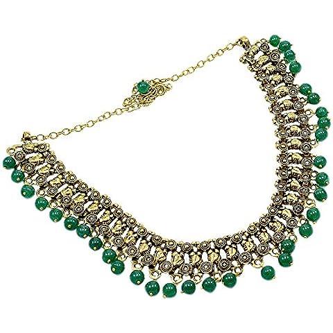 silvesto India Verde Giada Collana in ottone per le donne pg-8690a