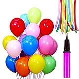 Auped Farbige 120 Stück Luftballons Set , 100 Runde Ballons Ø 30 cm + 20 Modellierballons + 1 Ballonpump , Ideale Dekoration für Kinder Geburtstagsfeiern, Party, Weihnachten, Hochzeitsfeiern , Spielen (Farben gemischt)