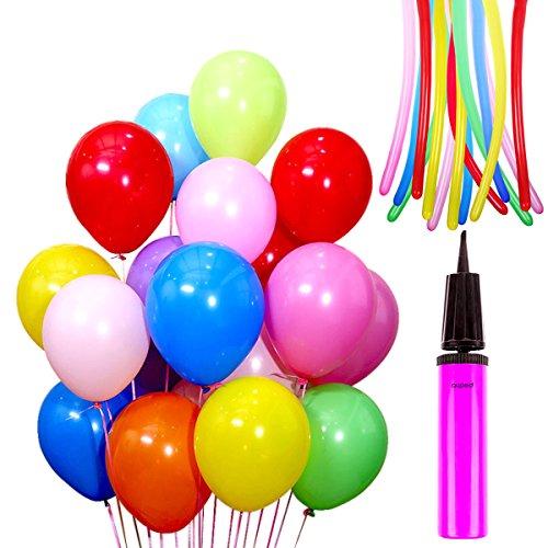 Auped Farbige 120 Stück Luftballons Set , 100 Runde Ballons Ø 30 cm + 20 Modellierballons + 1 Ballonpump , Ideale Dekoration für Kinder Geburtstagsfeiern, Party, Weihnachten, Hochzeitsfeiern , Spielen (Farben gemischt) (Stück Luftballons 100)