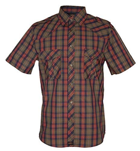 Rock-It Kariertes Herren Hemd Kurzarm Worker Hemd Worker Shirt Freizeithemd Arbeitshemd Made in Europa Größen S-5XL Farbe Olive 4X-Large