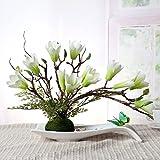LSRHT Künstliche Blumen Set Ceramicstray Orchidee Wohnzimmer Dekoration Silk Blume Whitea