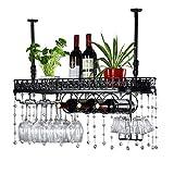 Decke Weinregale, Flaschen- und Glashalter, hängende Stemware Glashalter, LOFT Vintage Wandregal Lagerregal Wandmontage für Wohnzimmer Dekor von Geschenk