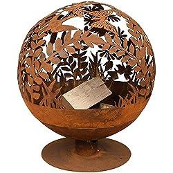 Brasero métal globe feuille aspect rouillé, pour les soirées d'ambiance Ø 58 cm