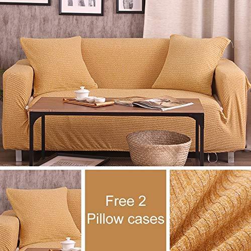 BAIF 2 Kissen Melange Strickbezüge Sofabezug Big Elasticity Stretch Couchbezug Loveseat Sofa Funiture Cover Handtuchwickel (90-300cm), Senf, 2-Sitzer 145-185cm -