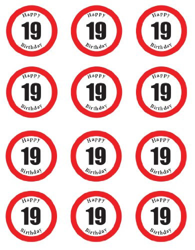 PRE-CUT HAPPY 19TH BIRTHDAY SIGN EDIBLE RICE / WAFER PAPER CUP CAKE TOPPERS PARTY DECORATION by Birthday