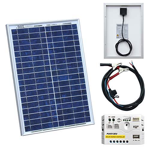 20W 12V photonic Universe-Kit de carga solar con 20W Panel Solar, Advanced 5A PWM controlador de carga y Recargable cable Este kit incluye un panel solar de alta eficiencia 20W Impermeable que es ideal para uso en exteriores para proporcionar...